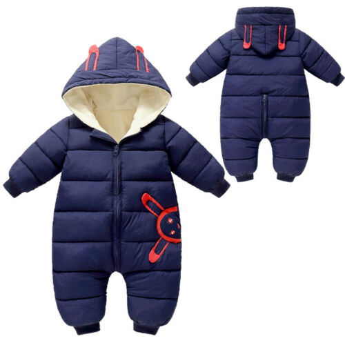 Newborn Baby Boys Girls Winter Warm Thick Romper Jumpsuit Zipper Hooded Outfits