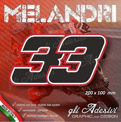 1 Adesivo Sticker Marco Melandri 33 Numero Cupolino Replica 20 X 10 Cm