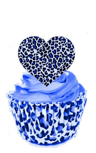 STAND UP Edible Decorations Wafer Cup Cake Toppers 24 x  Leopard Print Hearts