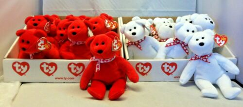"""Ty Beanie Baby 6/"""" Valentine Bear lot of 2 white and red"""