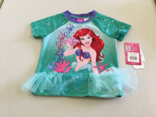 NWT Disney Ariel Rash Guard Swimsuit 2 pc Set UPF 50 Toddler Girls