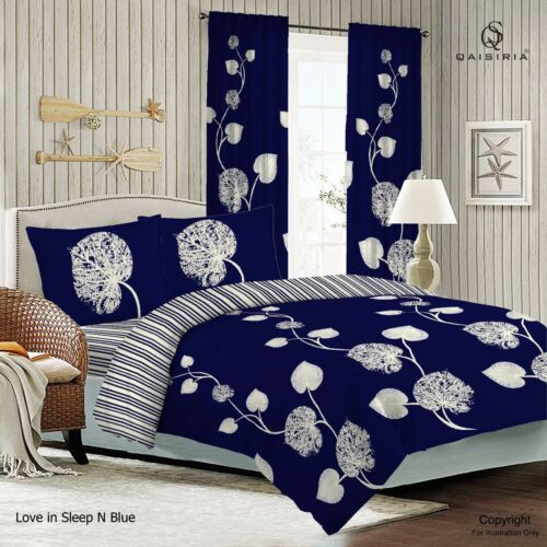 Love in Sleep Navy Duvet Set OR Complete Bedding Set OR Matching Window Curtains