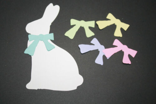 10 EASTER BUNNY /& BOW paper die cut embellishment scrapbook *FreeShipPromo* card