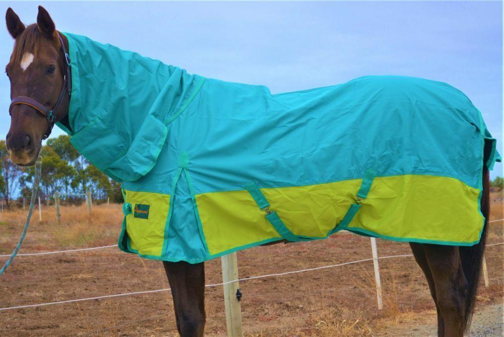 RUMANI CONQUEST 1200D WATERPROOF RAIN SHEET  RAINSHEET Turnout Horse Rug COMBO