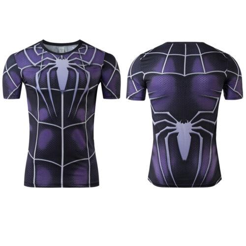 Men Superhero Marvel Avengers Compression Sport T-Shirt Gym Fitness Bike Tops T
