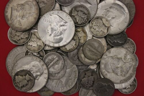MAKE OFFER 3 Standard Ounces 1964 Kennedy Franklin Mercury Junk 90/% Silver Coins