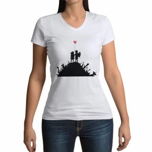 T-shirt Femme Col V Banksy Guerre Enfants Ballon Rouge Arme Street Art
