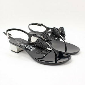 511439455963b New Salvatore Ferragamo Perala 3cm Nero Flip Flop Jelly Sandals ...