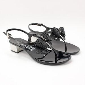 25ff5c5c0 Details about New Salvatore Ferragamo Perala 3cm Nero Flip Flop Jelly  Sandals Thong Lace Bow