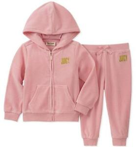 3f1e120d79a JUICY COUTURE GIRL S PINK VELOUR TRACKSUIT SET  HOODIE   JOGGERS ...