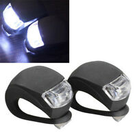 2X Cool Silicone Bike Bicycle Cycling Head Front Rear Wheel LED Flash Light Lamp
