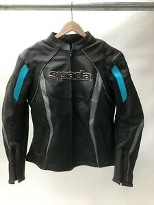 Spada-Ladies-Leather-Sports-Motorcycle-Jacket-sport-race-Black-Blue-size-14