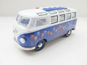VW-T1-Bus-en-1-24-Bleu-avec-Hollande-Tulipes-Neuf