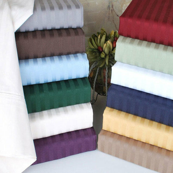 Superb Quality 1 PC Fitted Sheet 1000 TC Egyptian Cotton All Strip color-Twin-XL