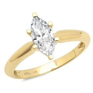 1.0 ct Marquise Cut Moissanite Wedding Bridal Promise Ring 14k Yellow Gold