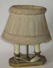ANCIENNE LAMPE BOUILLOTTE 2 LUMIERES ABAT JOUR ANCIEN ANTIQUE TABLE LAMP & SHADE