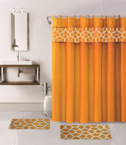 4PC BATHROOM SET BATH MATS SHOWER CURTAIN /& COVERED RINGS GEOMETRIC PRINTED NEW