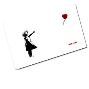 Banksy Toile Art Fille Avec Ballon Imprimé Image Murale Ba1 Petit - 12 pouces X 8 pouces, moyen 16 pouces, grand 24 pouces, xlarge 30 20 pouces, xxlarge 36 pouces, xxxlarge 42 pouces, xxxxlarge 48 pouces, échantillon C