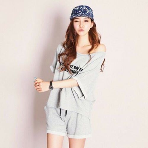 Sport Pure Color Women Sleepwear Pajama Sets Nightwear SleepShirt /& Shorts M-2XL