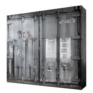 Kleiderschrank 4 Trg Schrank Container Look Vintage Industrial