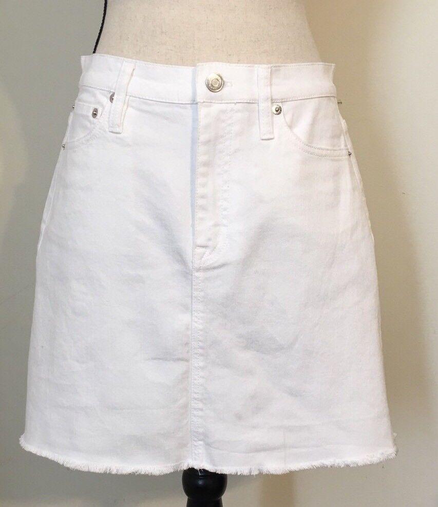 NEW JCREW  White denim skirt with raw hem Size25 G1270