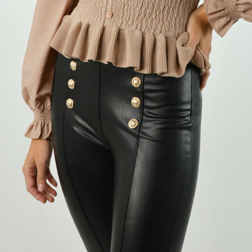 Womens Faux Leather Gold Button Detailing Leggings