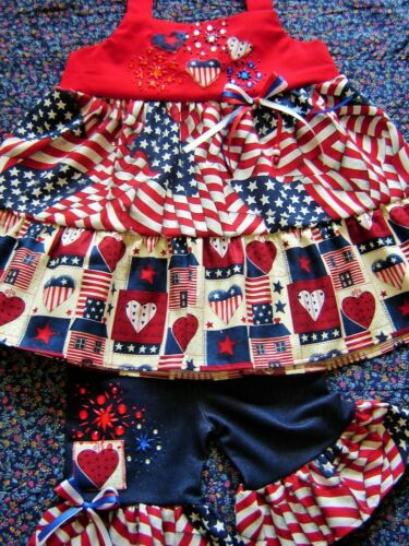 Boutique 4th of July Girls Outfit 12m 18m Jeweled Ribbon Blouse shirt shorts