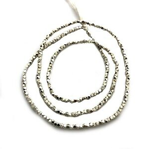 Faceted-Silver-Plated-3mm-Beads-Spacers-Strand-Tribal-Naga-Necklace-30-034-BSS01