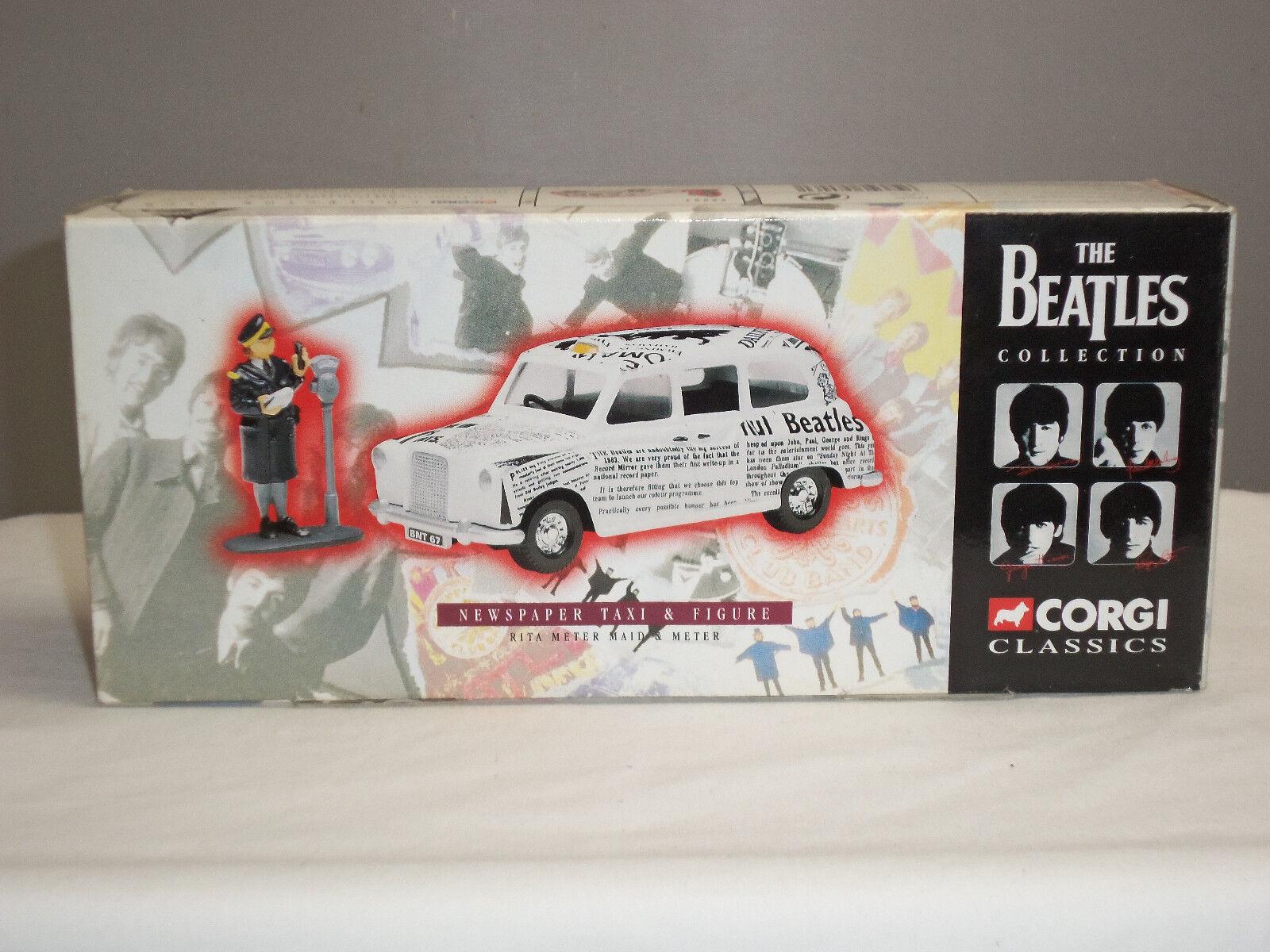 Corgi Beatles Newspaper Taxi blancoo 58003 Taxi Londres Coche + tráfico alcalde figura