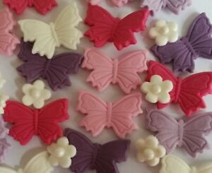 3 x Butterfly Edible  Sugar Paste Decoration Cake Toppers Birthday Wedding Party