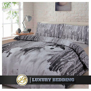 Image Is Loading Wolf Print Duvet Quilt Cover Amp Pillowcase Bed