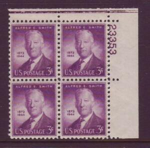 937-ALFRED-SMITH-MINT-PLATE-BLOCK-F-VF-NH-OG
