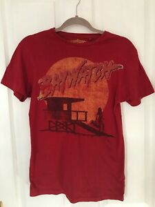 MENS-PRIMARK-Red-Baywatch-Film-Graphic-Logo-Picture-T-Shirt-Size-XS