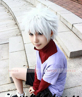 HUNTER×HUNTER Killua Zoldyck Short Silver White Cosplay Costume Wig