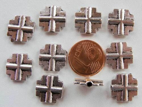 10 perles CROIX Plates METAL ARGENTE DIY création Bijoux Déco MA59