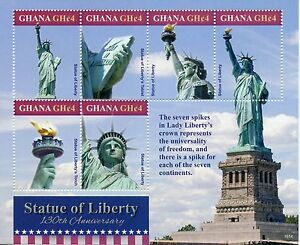 Ghana 2016 mnh statue of liberty 130th anniv 6v m s new for New york state architect stamp