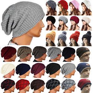 93b9243081128 Men Women Warm Oversize Beanie Skull Baggy Caps Winter Slouch Knit ...