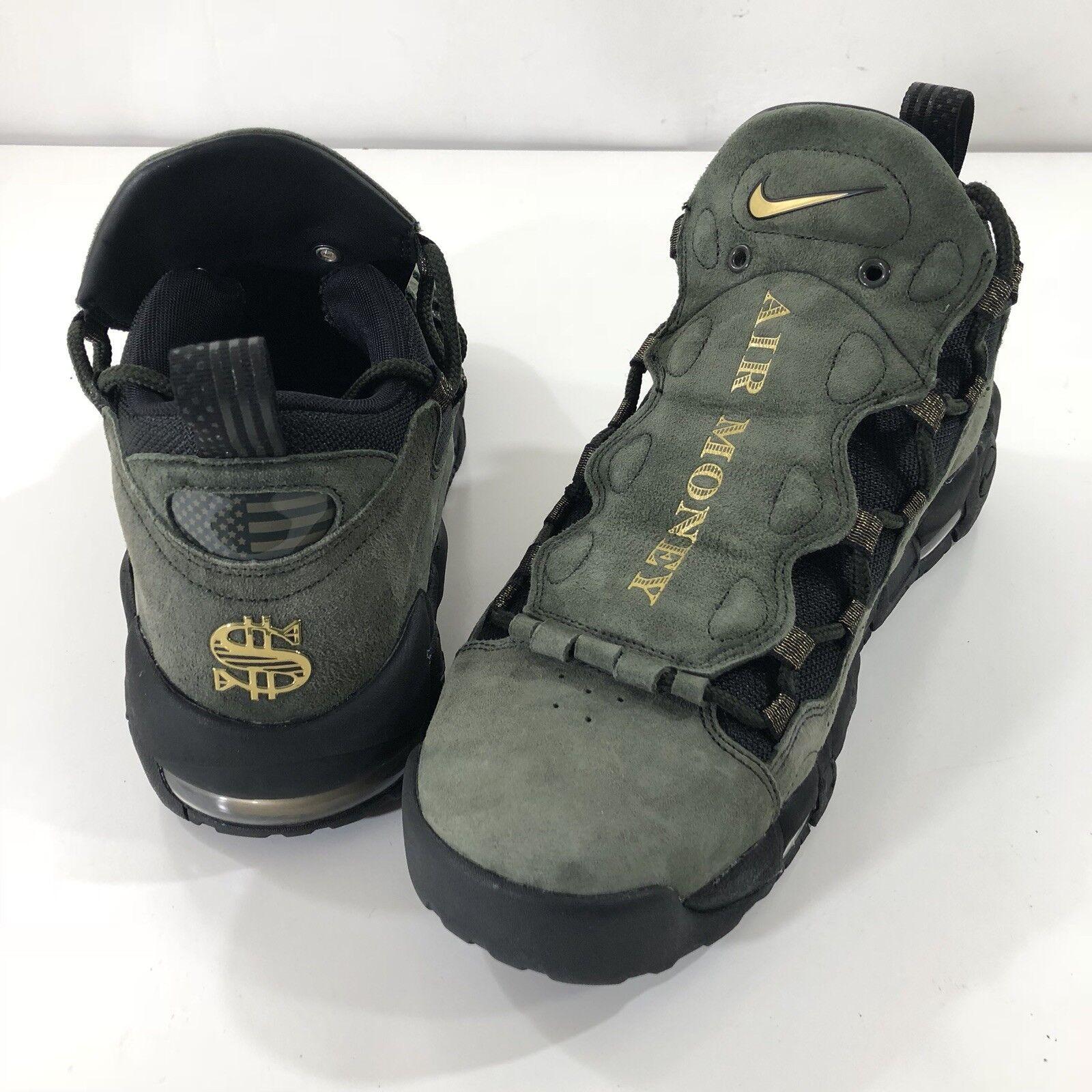 Nike Mens Air More Money QS shoes Currency Dollar Green Black AJ7383-300 SZ 10.5