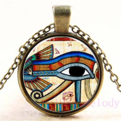 651 Neuf Cabochon Verre Collier Bronze Charme Rétro Pendentifs : Eye of Horus