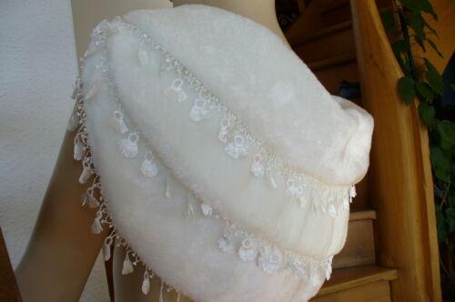 Original Etole cape châle fantaisie à galons en fourrure ivoire réf E09 Neuf