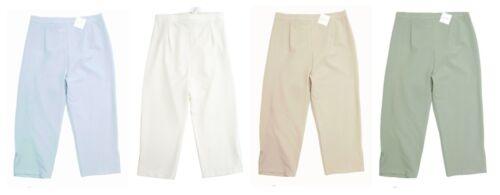 Womens new bi stretch back elastic waist trouser capris size 12-24