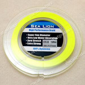 NEW-Sea-Lion-100-Dyneema-Spectra-Braid-Fishing-Line-500M-15lb-yellow