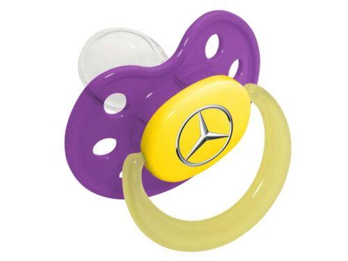Orig. Mercedes-Benz Schnuller Baby Kinder lila gelb mit Stern-Logo Mädchen Gr.1