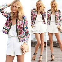 Vogue Floral Print Women Lady Casual Blazer Suit Long Sleeve Jacket Coat Outfits