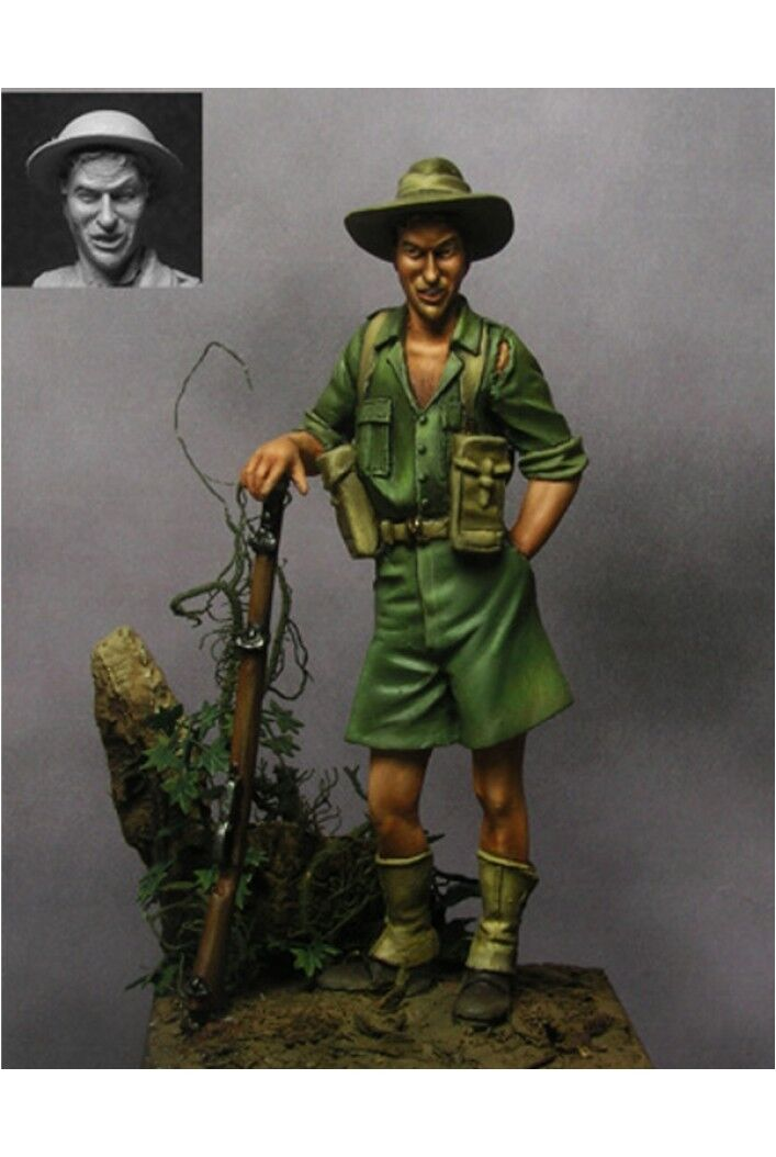 Australian Soldier at New Guinea 54mm 1 32 Tin Painted Toy Soldier   Art