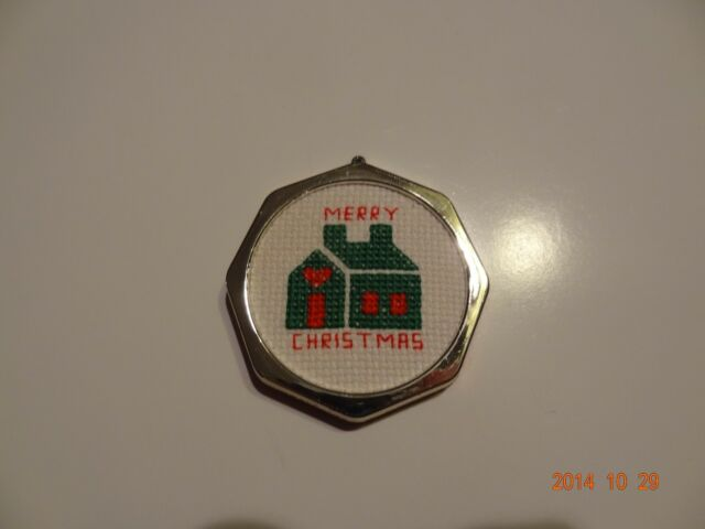 New Christmas Ornament Green house Merry Christmas. Finished Cross Stitch