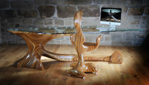 One of a kind martin rice bureau chaise énorme plateau en verre