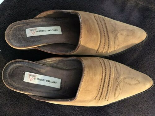 GUESS Georges Manchados Mules Pointy Toe Block Hee