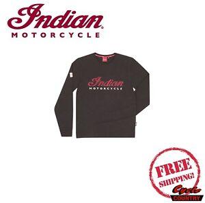 Genuine Indian Motorcycle Brand Cotton Long Sleeve T Shirt Tee Logo
