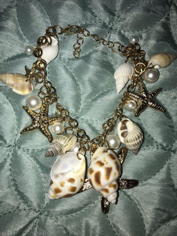 Boutique Gold Shell Charm Bracelet New